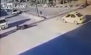 Cavallo investito da un taxi si rialza e scappa