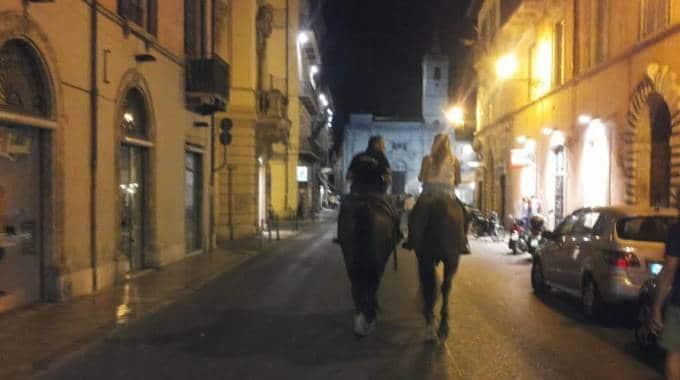 Passeggiata a cavallo in centro: multa per gli escrementi